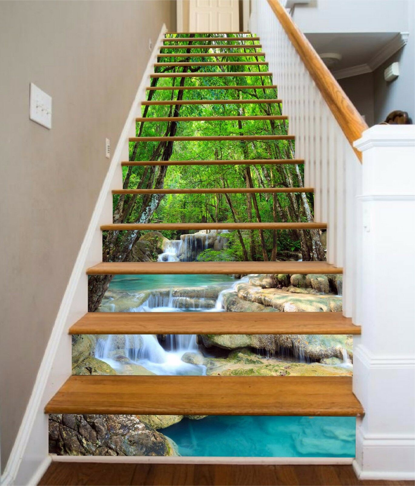 3D Forest River 863 Stair Risers Decoration Photo Mural Vinyl Decal Wallpaper AU