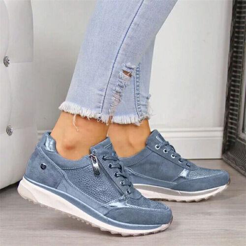 Womens Glitter Zipper Sports Shoes Wedge Ladies Casual Walking Running Sneakers