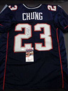 wholesale dealer a4ad4 b3e64 Details about Patrick Chung New England Patriots Autographed Custom Style  dark Jersey JSA COA