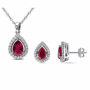 Sterling Silver Ruby and White Sapphires Set of Earring and Necklace