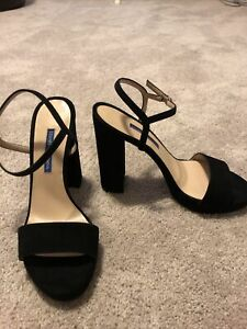 Stuart-Weitzman-Women-s-Black-Suede-Ankle-Strap-Heels-Size-8-5