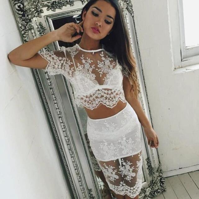 NEW Sexy Women Perspective Dress + Underwear Sheer Lace Strap Lingerie Bra Top