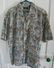 Route 66 Oceanus Ocean Map Coconut Buttons Short Sleeve Aloha Camp Shirt 2XL 2X