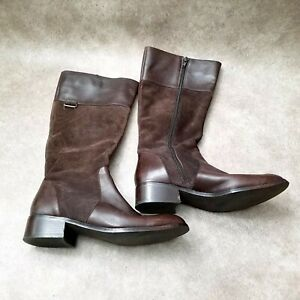 Coldwater-Creek-Womens-Sz-7-5-M-Brown-Leather-Knee-High-Riding-Boots
