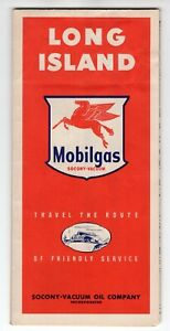 Vintage-1949-Long-Island-NY-Road-Map-Mobiloil-Socony-Vaccum-Station