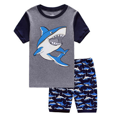 Kids Shark Pajamas Full Sleeve Boy Shark Pijamas Pure Cotton Sleepwear Clothes