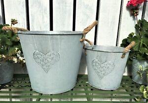 Grey Vintage Style Zinc Metal Garden Planter Trough Flower Plant Pots Container