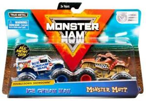 Monster-Jam-2-paquete-de-vehiculos-camiones-Ice-Cream-Man-amp-Monster-Mutt