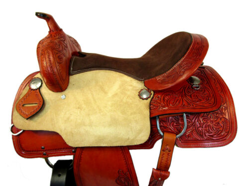 Details about  /BROWN WESTERN SADDLE PADDED SEAT BARREL RACING HORSE PLEASURE LEATHER TACK 15 16