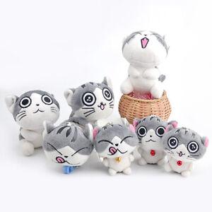 Random-Super-Cute-Cat-Stuffed-Animal-Bolster-Key-Chain-Plush-Doll-Toys-Keyring