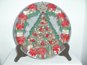 Details About Ceramic Christmas Tree Collectible Plate Handmade And Hand Painted