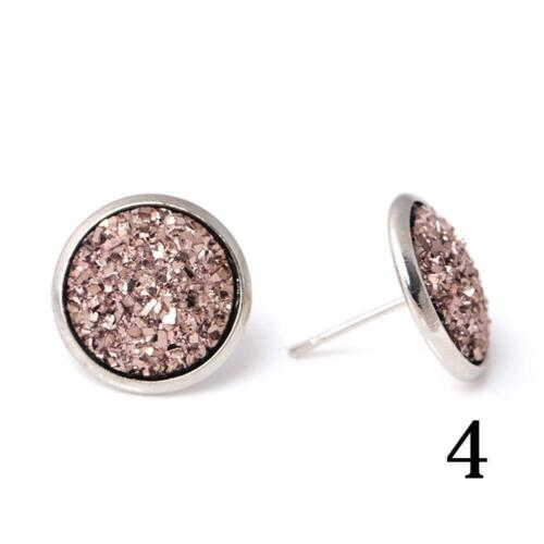 NEW Round Blue Druzy Geode Crystal Stud Earrings Post GORGEOUS Back Sell E2Q0