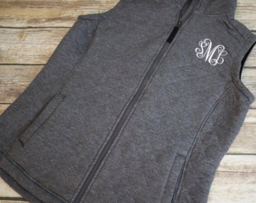 Monogrammed Ladies Quilted Vest - Personalized Lad