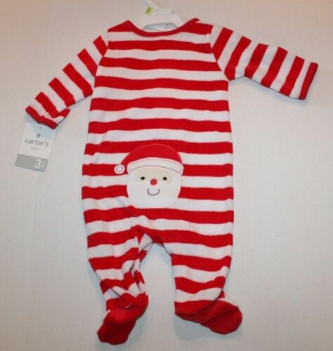 "NWT Carter/'s /""My 1st Christmas/"" Striped Velour Sleep and Play 3 Months"