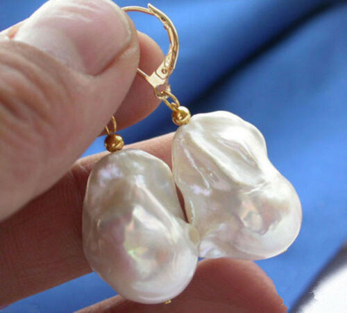 Vraiment énorme naturel AAA South Sea Blanc Perle Baroque Boucles D/'oreilles