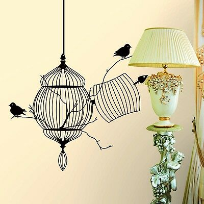 Black Birdcage Bird Removable Wall Sticker Home Decor Vinyl Wall Room Art Mural