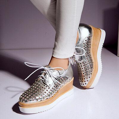 Hot Ladies Womens Mesh Mid Heel Wedge Flat Platform Lace Up Creeper Shoes Oxford