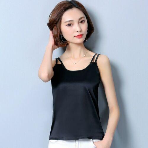 Pour Femmes Satin Soyeux Débardeur sans Manche Caraco T-Shirt Simple Chemisier