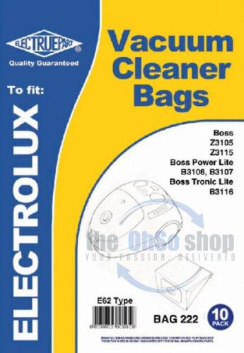 10 X Electrolux E62 sacs pour aspirateur pour s/'adapter-Le BOSS Z3105