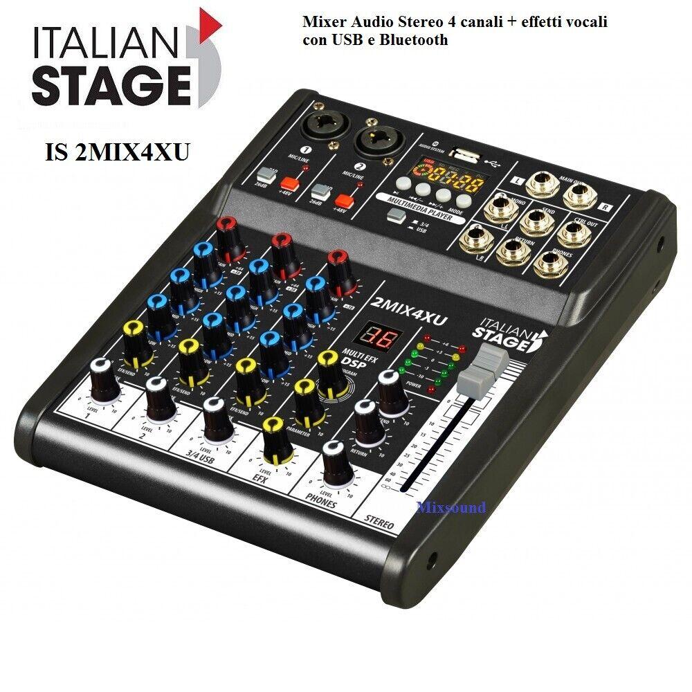 Italian Stage IS 2MIX4X MIXER 4 CANALI CON 16 EFFETTI VOCE + USB e blutooth