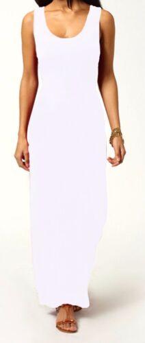 Women Ladies Jersey Long Summer Vest Racer Muscle Back Maxi Dress Plus Size 8-26