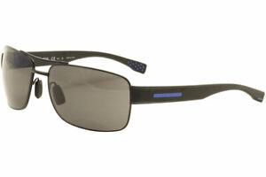 Hugo Boss HG0176//S HG//0176//S 0VKIR Matte Black//Blue Rectangle Sunglasses 58mm