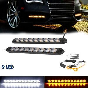 2x-LED-DRL-Feux-de-jour-Avant-Phare-Diurne-Eclairage-Voiture-9-LED-Blanc-Amber