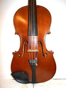 Old-Antique-Vintage-034-Trade-Mark-Made-in-Japan-034-2-Pc-Back-Full-Size-Violin-NR