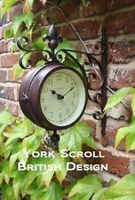 Outdoor indoor Clock double sided Thermometer Garden Wall Station Dia 14.5cm A