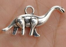 SC3161 10 Dinosaur Charms Antique Silver Tone Brontosaurus 2 Sided