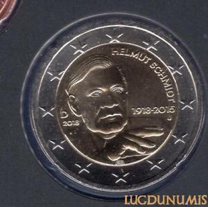 Allemagne 2018 2 Euro J Hambourg BU FDC Helmut Schmidt provenant coffret 26000 e