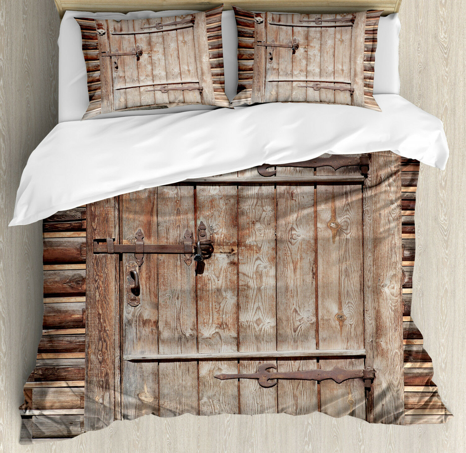 Rustic Duvet Cover Set with Pillow Shams Timber Door Log House Print