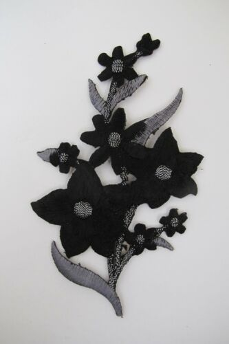 "#3819B 4-1//2/"" Black,Grey,Silver Wild Flower Embroidery Iron On Appliqué Patch"