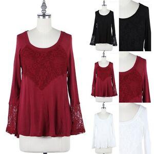 Women-039-s-Floral-Lace-Inset-Scoop-Neck-Long-Sleeve-A-Line-Top-Blouse-S-M-L