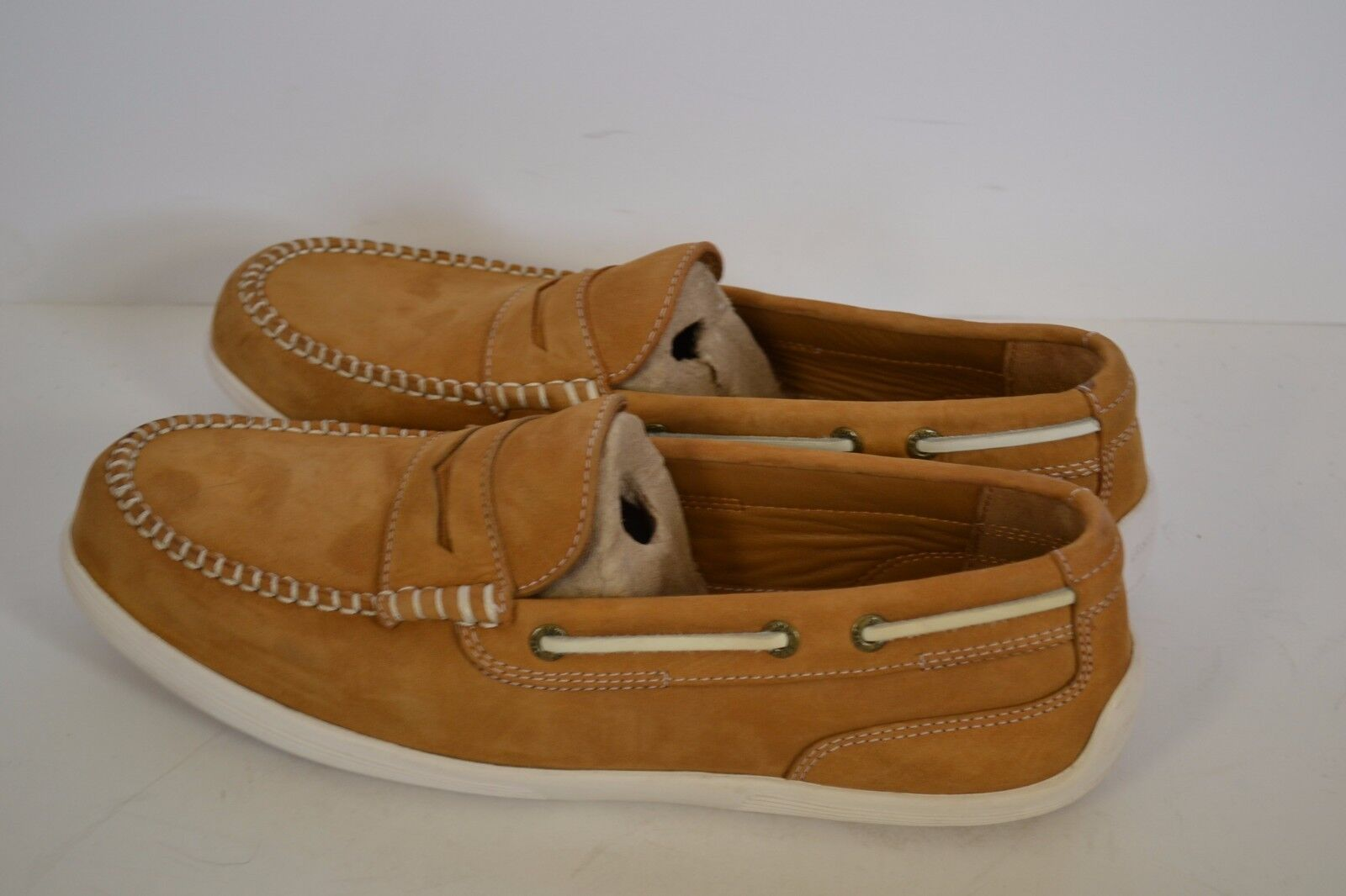 Sebago Nantucket Classic Uomo SIZE 9 M LEATHER TAN LOAFERS mocs boat shoes