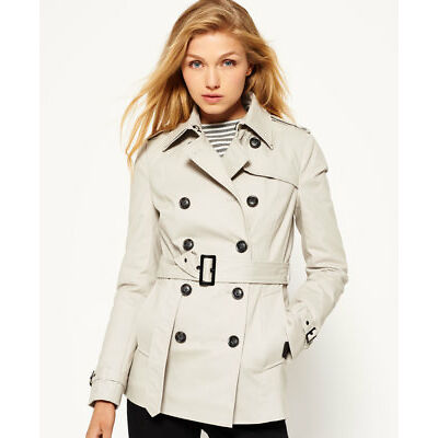 New Womens Superdry Winter Belle Trench Coat Stone