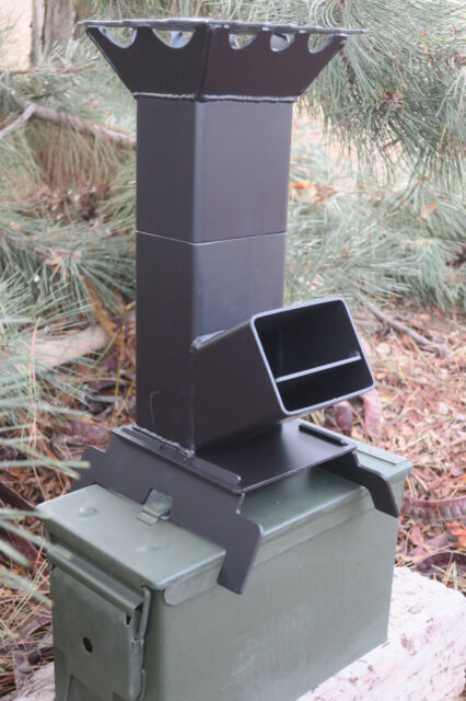 Shadrach V2 Portable Rocket Stove With A 50 Cal Ammo Can