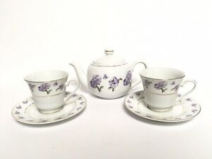 Dayspring Lilac Flower Teapot w/ 2 Teacups and Saucers Psalm 126:3 Verse