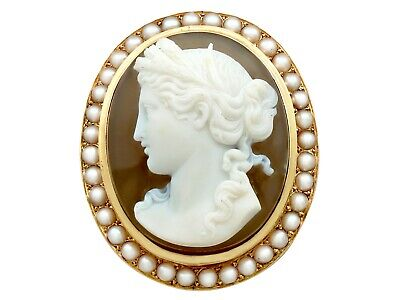 Jewelry & Watches Fine Jewelry Buy Cheap Antique French Agate And Seed Pearl Yellow Gold Cameo Brooch