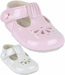 54f098724fa80 BabyPrem Baby Girls Pram Shoes Classic Fan T-Bar White Pink Baypods ...
