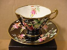 Hammersley Hand Painted Fuchsia Flowers With Black Background Pattern 4432 Te