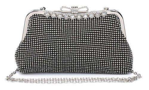 Señoras Diamante Clutch Bag Diamante Broche Fiesta Bolso Bolso de mano cartera ME68006