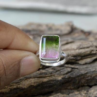 Cushion Faceted Watermelon Tourmaline quartz Wedding Gift Ring Jewelry