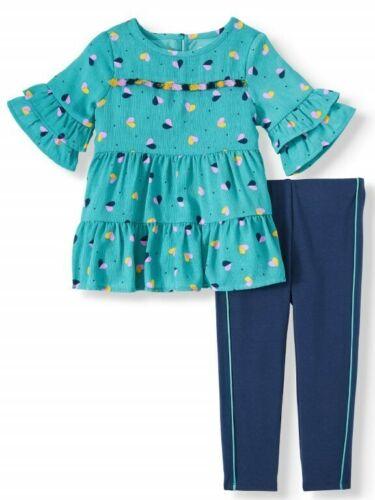 Wonder Nation Toddler Girl SS Tiered Ruffle Tunic /& Racer Stripe Leggings 2pc
