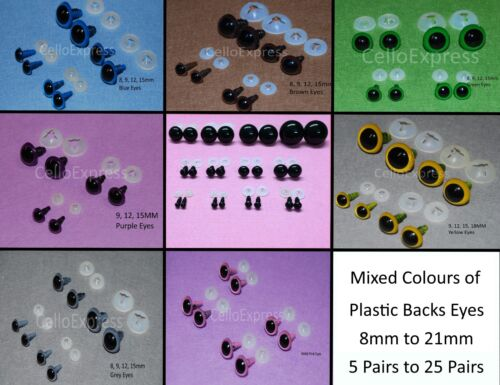 MIXED COLOUR PACKS of Plastic Back Eyes for Teddy Bear Soft Toy Doll Making