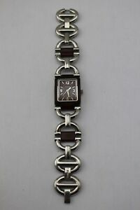 FOSSIL-F2-Silver-Tone-Brown-Leather-Stainless-Steel-Chain-Link-Watch-ES-1981
