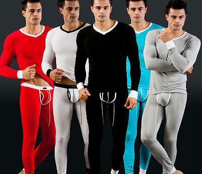 MEN'S 2PC Thermal Underwear Sets Warm Long Sleeve T-Shirts Tops Pants Long Johns