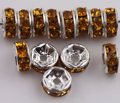 50Pcs Czech Crystal Rhinestone Silver Rondelle Spacer Beads 6mm 8mm