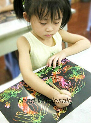 10 Sheet 16K Colorful Scratch Art Paper Magic Painting Paper with Drawing Stick