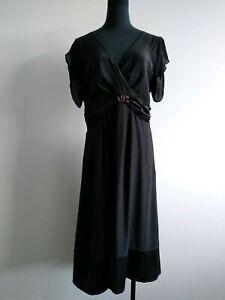 David-lawrence-Black-Silk-Beaded-V-Neck-Cap-Sleeves-Dress-AU-12-L